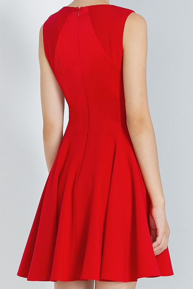 拼接褶裥连衣裙