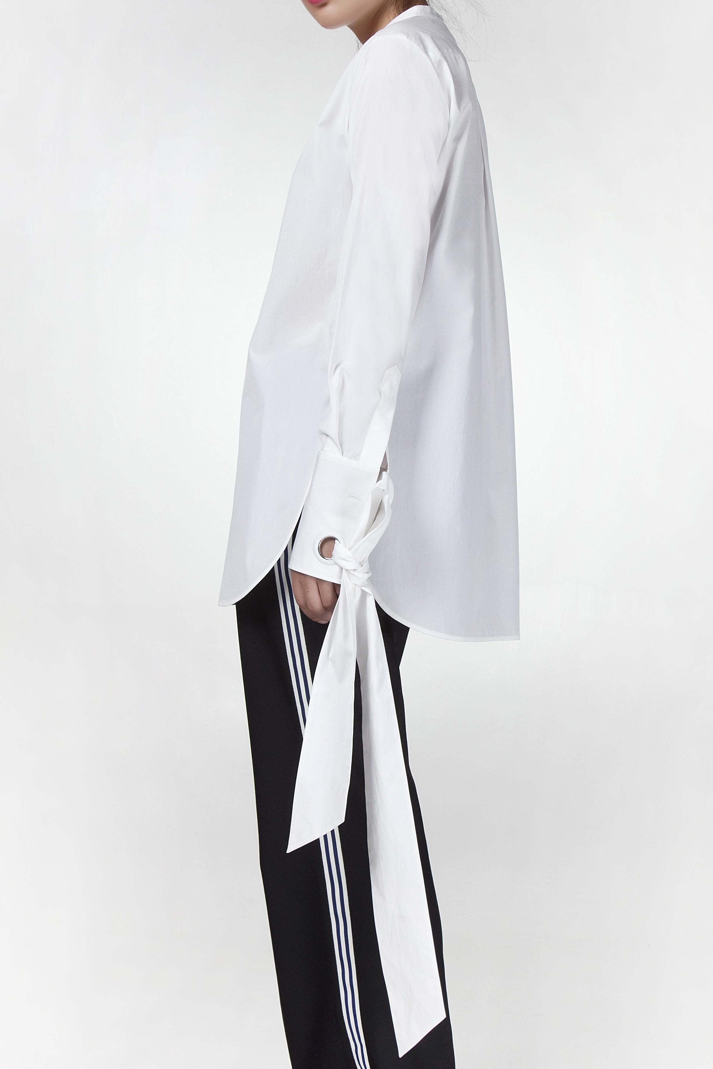 女士袖口丝绦衬衫